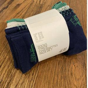 Boys H&M 7 Pack Truck Theme Low Cut Socks 13-1.5